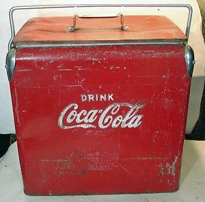 Vintage Metal Cokle Coca Cola Cooler Box Ice Chest