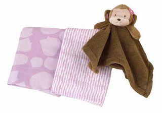 Cocalo Jacana Monkey Blanket Set Baby Girl Receiving Security Blanket