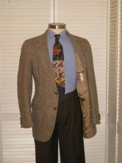 Vtg Harris Tweed Mens Brown Herringbone Sport Coat Jacket Blazer 38R