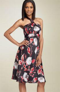 Donna Ricco Print Silk Halter Dress