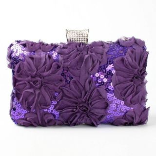 Floral Ruffle Sequin Rhinestone Bling Clasp Evening Clutch Bag