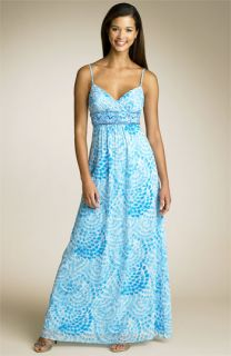 Adrianna Papell Bead Waist Silk Maxi Dress