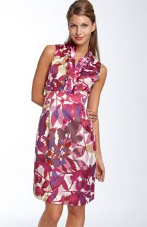 Ellen Tracy Ruffle Front Print Sheath Dress