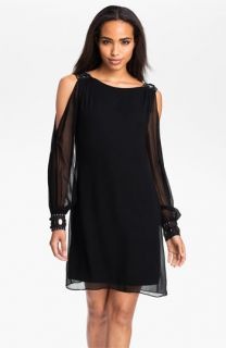 Aidan Mattox Split Blouson Sleeve Silk Dress