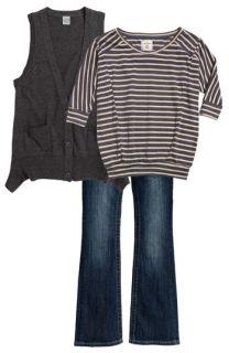 Ivy & Moon Sweater Vest, Pockie K Stripe Dolman Sleeve Top & Miss Me Embellished Bootcut Jeans (Big Girls)