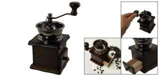 Kitchen Stainless Steel Bowl Wooden Coffee Mill Spice Herb Grinder