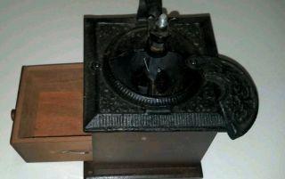 COFFEE GRINDER MILL HAND CRANK DECORATIVE CAST IRON WOOD missing crank