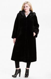 Kristen Blake Hooded Faux Fur Coat (Plus)