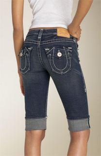 True Religion Brand Jeans Sophie Heritage Stretch Denim Cuffed Shorts (Dark Drifter)