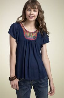 Soprano Embroidered Knit Top (Juniors)