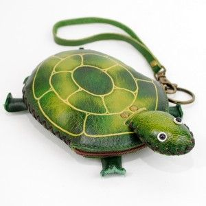 Leather Turtle Wristlet Coin Purse Wallet Handbag New