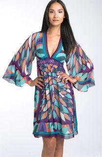 Nicole Miller Print Silk Chiffon Dress