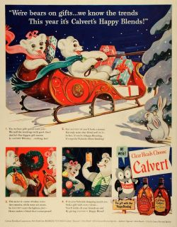 1942 Ad Calvert Whisky Bottles Liquor Alcohol Christmas Gifts Sleigh