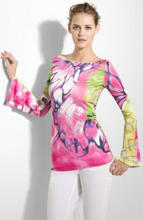 Blumarine Butterfly Print Silk Jersey Top
