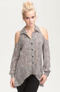 Parker Print Silk Cutout Shoulder Shirt