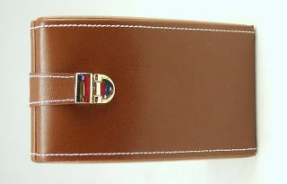 Champ Collection Brown Leather Compact Jewelry Case Box