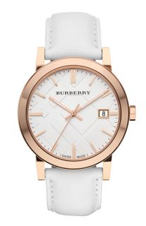 Burberry Check Stamped Round Dial Watch