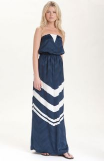 Addison Story Strapless Silk Maxi Dress
