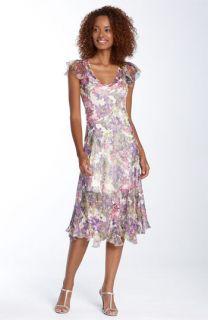 Komarov Flutter Sleeve Pleated Chiffon Dress
