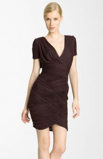 Halston Heritage Ruched Chiffon Jersey Dress