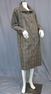 Plaid Wool Blassport Bill Blass High Neck Cocoon Shirt Dress