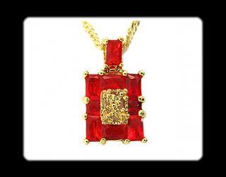 Fashion Jewelry Gift Emerald Red Garnet Yellow Gold GP Ruby Pendant