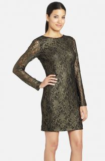 Cynthia Steffe Lydia Metallic Illusion Sleeve Lace Dress