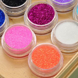 12 Mixed Color Mental Glitter Nail Tool Acrylic Powder Dust Shape