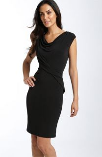 Calvin Klein Drape Front Matte Jersey Sheath Dress