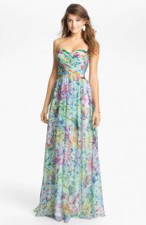 La Femme Print Strapless Maxi Dress