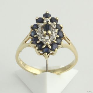 10ctw Sapphire Diamond Cluster Ring 10K White Yellow Solid Gold