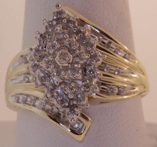 10K Yellow Gold 24cttw Diamond Cluster Band Ring 5 6g Vintage Estate