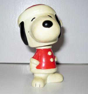 Hand Painted Snoopy Bobble Head Santa RARE Collectible Figurine
