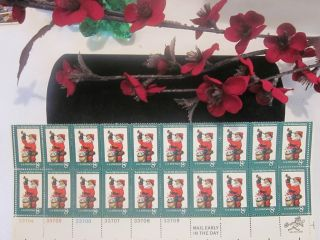 Stamps Partial Sheet 8 Cent Santa Claus Stamps Christmas Collectible