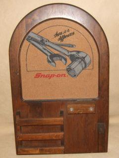 Snap On Tools Cork Bulletin Board Wall Hanging Wood mail organizer