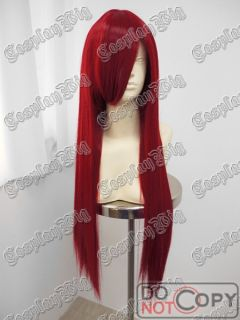 32 80cm Long Red Straight Cosplay Wig Fairy Tail Erza