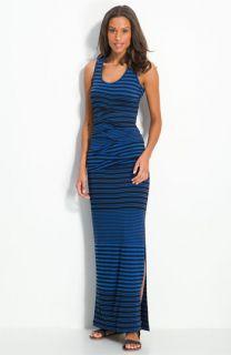 Nicole Miller Stripe Jersey Maxi Dress