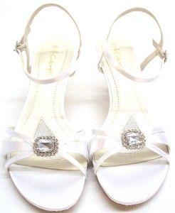 Coloriffics Womens Jordan White Satin Strappy Heel Size 9 W