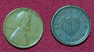 CIVIL WAR STORE TOKEN ALDEN & FRINK COHOES, NEW YORK`SUPER  .CONDITION