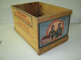 Wood Cranberry Box Crate Suitsus Colley Label Boston MA Boys Kids farm