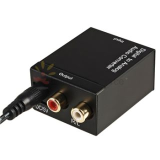 Optical Coax Coaxial Toslink to Analog RCA L/R Audio Converter Adapter