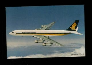 1972 Singapore Airlines First Postcard Successor to MSA Boeing 707