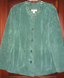 Coldwater Creek Plus Woman Green 100% Leather Suede Button Jacket Coat