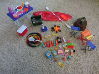 Barbie coleman tent stove lantern camping gear set large accessories