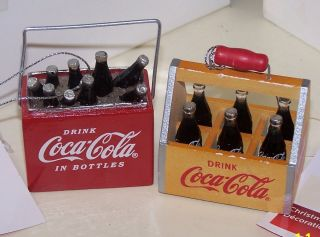 COCA COLA BOTTLE 6 PACK AND VINTAGE COOLER W/ BOTTLES & ICE ORNAMENTS