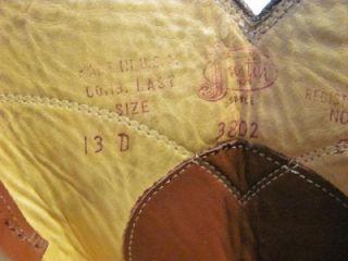 vintage justin roper cowboy boot men size 13 d