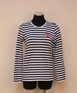 JCrew $136 Comme des Garcons Play Stripe Heart Tee S Navy Stripe
