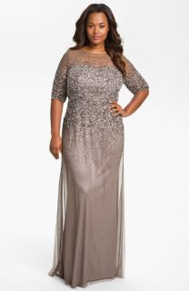 Adrianna Papell Beaded Illusion Gown (Plus)