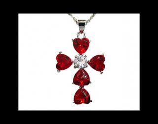 Gift Lady Ruby White Gold GP Pendant Necklace Fashion Jewelry Neck
