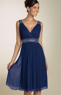 Maggy London Beaded Crinkle Chiffon Dress